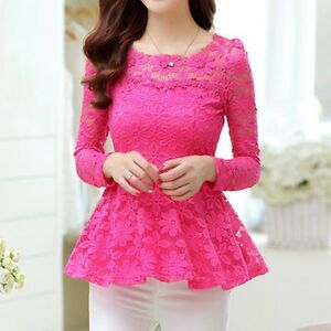 Lady-Lace-Slim-Fitted-Peplum-Skater-Top-Long-Sleeve-Shirt-Blouse-Plus-Size-Pink