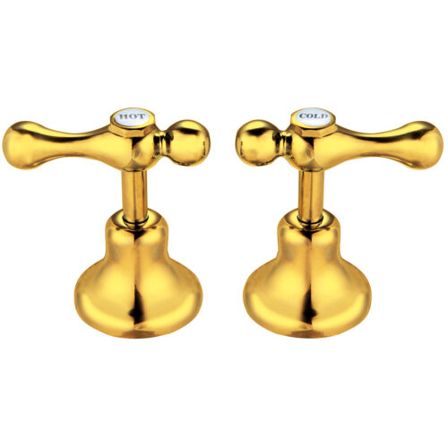 24K Yellow GOLD Shaw /& Mason 1//4 Turn Lever Basin Top Assembly Bathroom Taps
