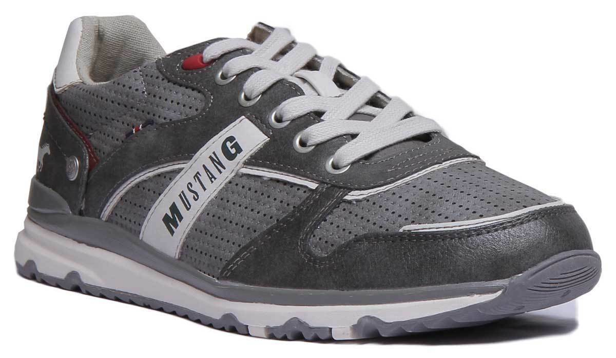 Mustang 4095-317 Men Synthetic Leather grau Trainers UK Größe 6 - 12