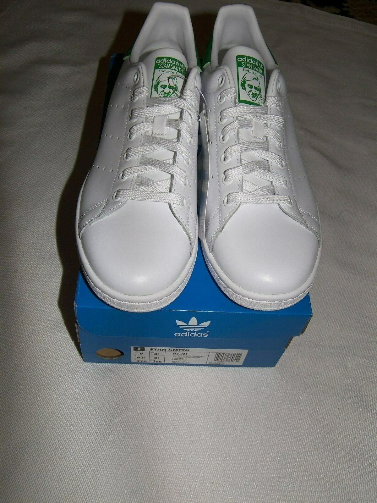 NEW MENS ADIDAS ORIGINAL STAN SMITH LEATHER SNEAKERS WHITE   GREEN SIZE 9