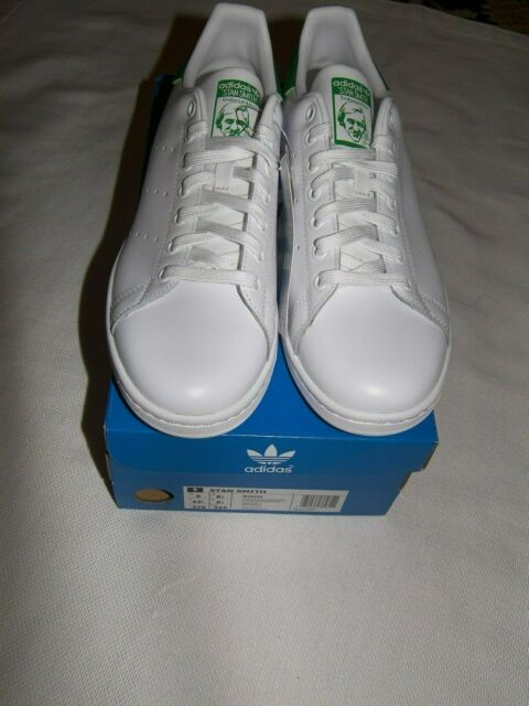 new product e19e8 b9ab7 NEW MENS ADIDAS ORIGINAL STAN SMITH LEATHER SNEAKERS WHITE   GREEN SIZE 9