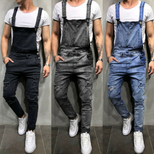 Mens Denim Dungaree Overalls Pants Trousers Workout Jumpsuit Ripped Cargo Jeans