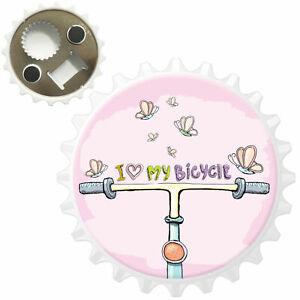Bicycle /& Fluttering Butterflies Bottle Opener Fridge Magnet
