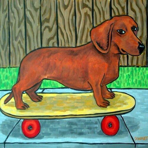 Dachshund skateboard picture ceramic dog art tile gift