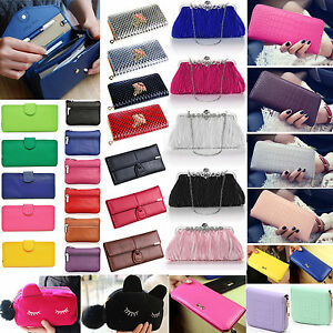 Women-Lady-PU-Leather-Clutch-Coin-Phone-Bag-Long-Purse-Wallet-Card-Holder-Lot-ZX