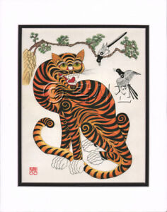 Details about Korean Art Rice Paper Print Magpie Tiger Matted #005r