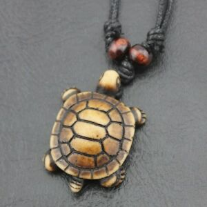 Adjustable-Necklace-with-TURTLE-Designed-Tribal-Shaped-Wood-look-Pendant