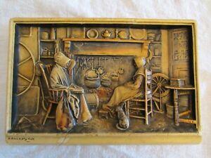 "Antiques *ivorex Arthur Osborne Wall Plaque ""a Friendly Call"" 3d Original Vintage"