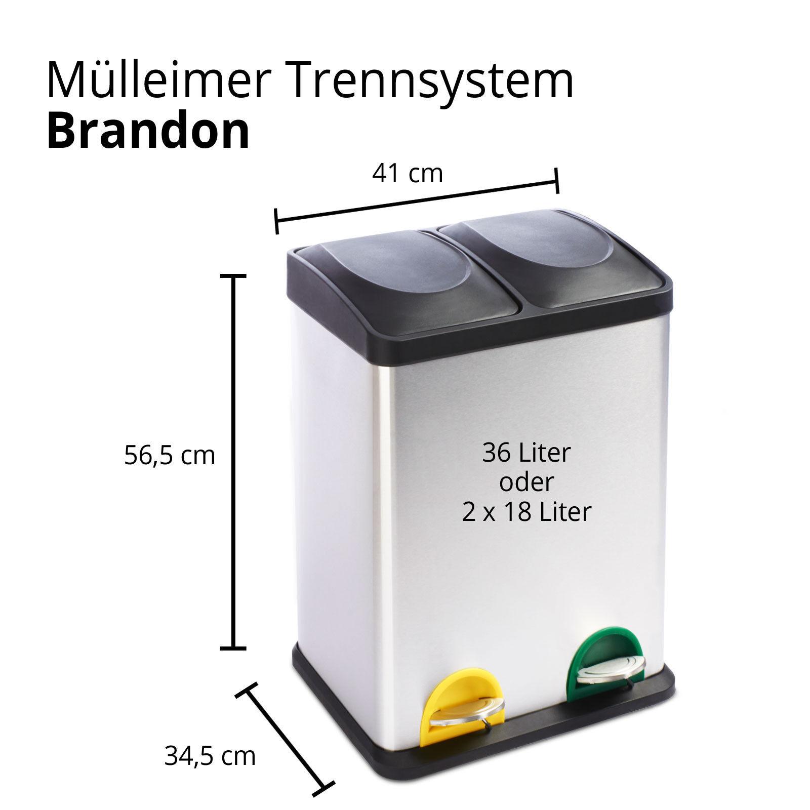 Mülleimer Abfalleimer Trennsystem mit Tretfunktion aus Edelstahl inkl. inkl. inkl. Fussmatte b2c7fc