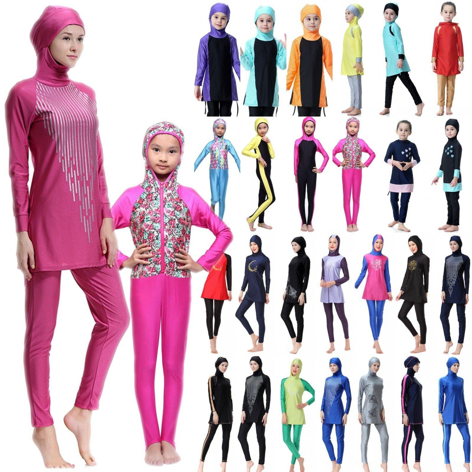Muslimische Damen Kids Islamische Bademode Modest Full Cover Badeanzug Burkini.