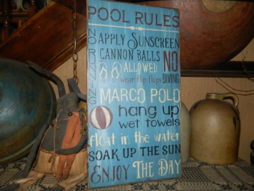 PRIMITIVE SUMMER SIGN~~POOL RULES~SOAK UP THE SUN~NO DIVING~MARCO POLO~SUNSCREEN