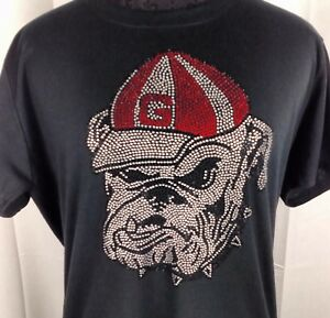 buy popular 9f5fd fe59c Details about Women's Georgia Bulldogs Rhinestone Football T Shirt Tee  Bling Lady