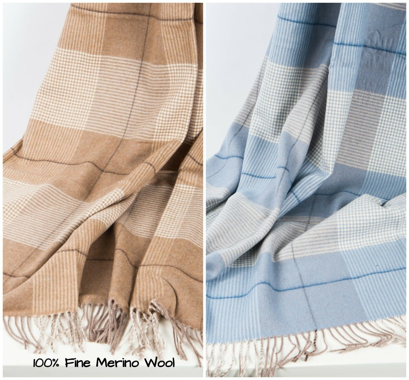 Merino Wool 100% Superfine Throw Blanket Soft Warm Natural Plaid Perfect Gift