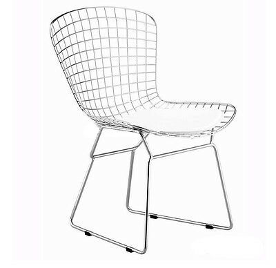 Bertoia Wire Side Chair With White Cushion