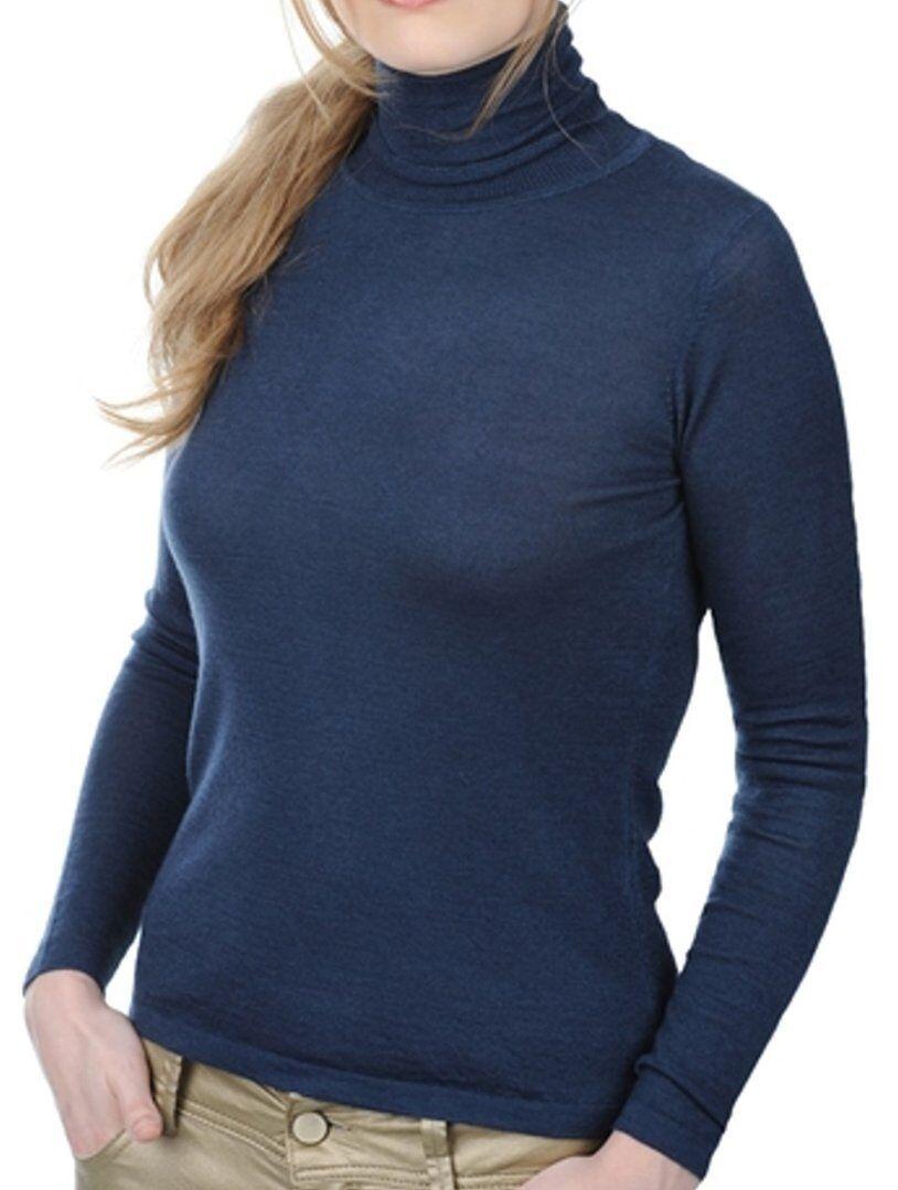 Balldiri 100% Cashmere Duvet Damen Rollkragen 2-fädig nachtblau S