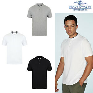 Front-Row-Stand-Collar-Short-Sleeve-Tag-Free-Stretch-Polo-Shirt-FR244