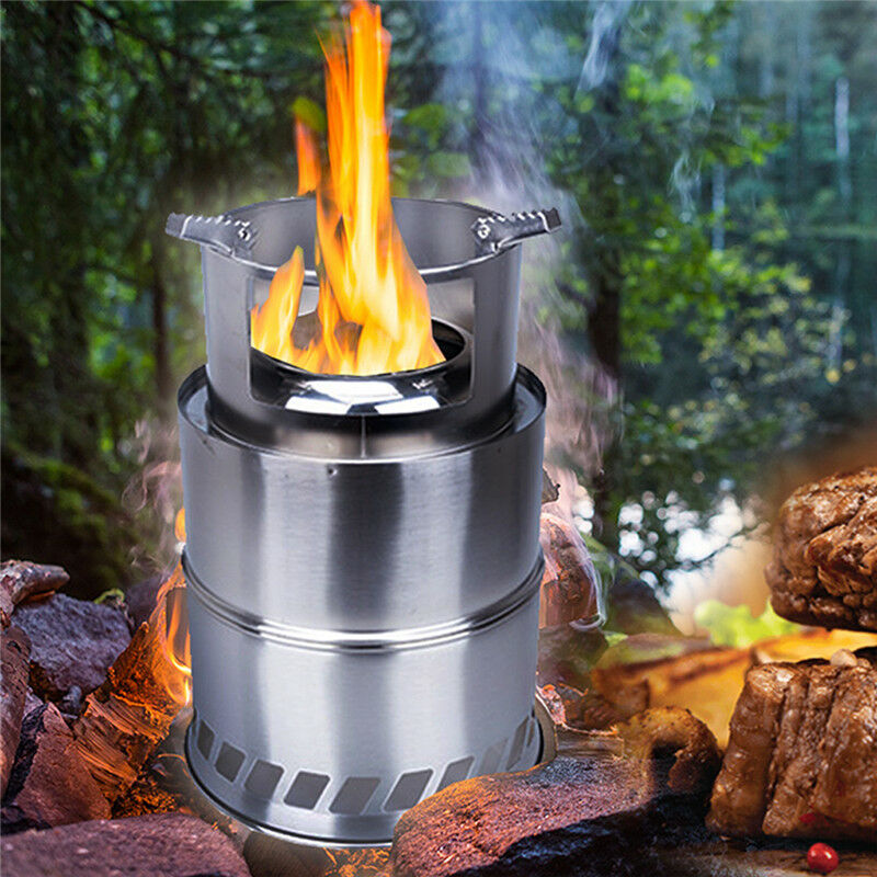 Outdoor Portable Wood  Alcohol Gas Stove Camping Picnic PLUS Version  great selection & quick delivery