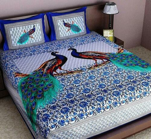 King Size Bed Sheet 2 Pillow Cover 100/% Cotton Indian Peacock Ethnic Bedding Set