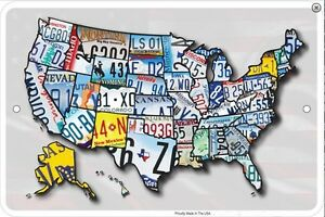 USA-Licence-Plates-Map-metal-sign-305mm-x-205mm-sf