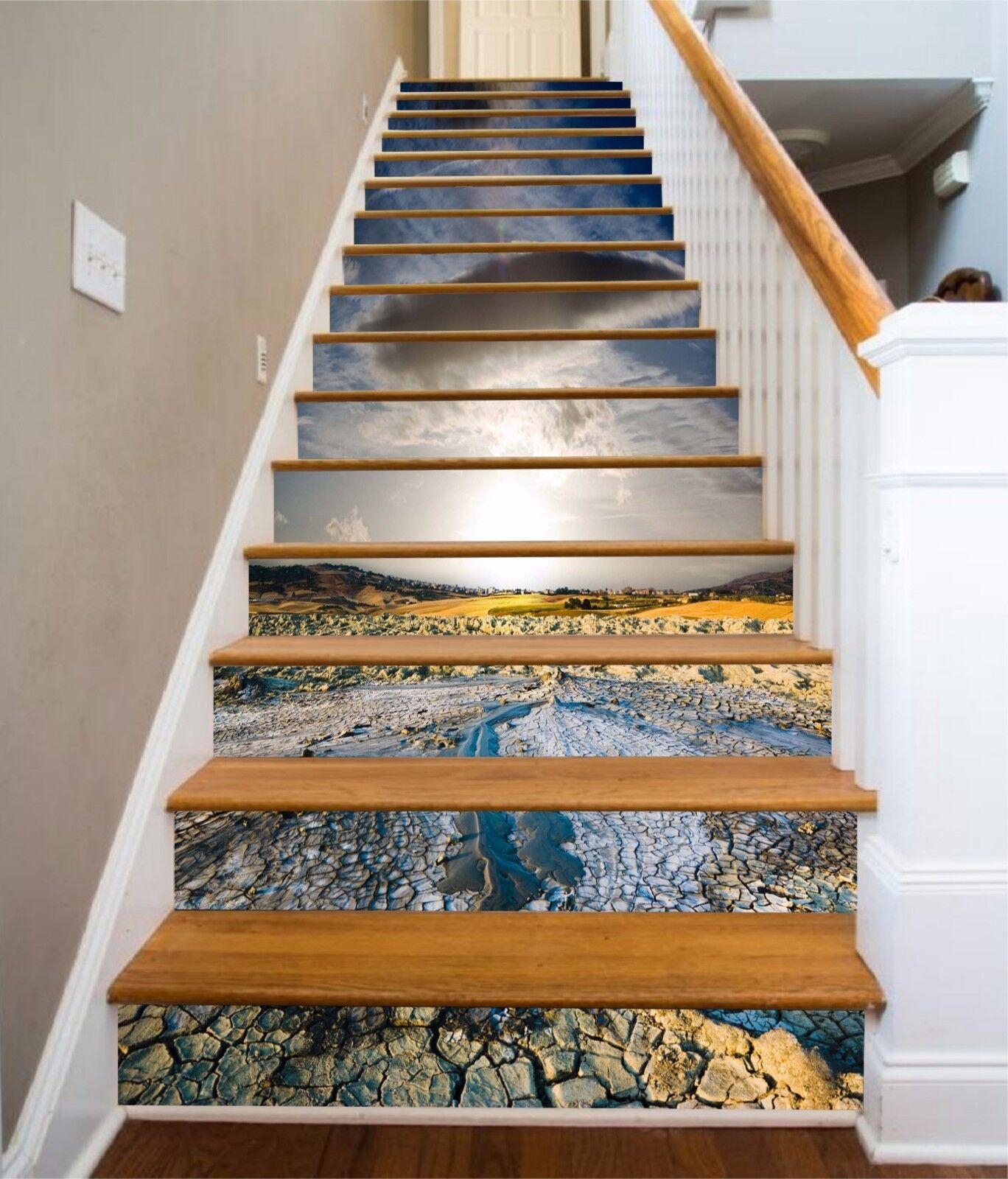 3D Dry Lake View 3 escaliers contremarches Décoration Photo Murale Autocollant Vinyle Papier Peint US