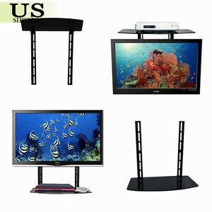 Glass shelf wall mount bracket above under tv component - Tv wall mount with shelf ...