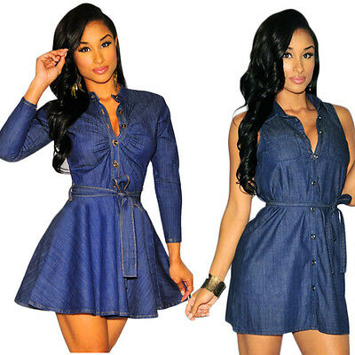 Fashion Women Dress Summer Sexy Sleeveless/Long Sleeve Denim Party Mini Dress