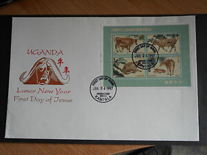 Uganda-1997-Chinese-New-Year-Year-of-the-Ox-SG-MS-1754-FDC