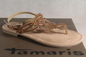 Ladies-Tamaris-Thong-Sandal-Sandals-Real-Leather-Gold-New