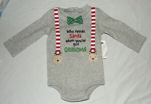 New Baby Boy First Christmas One Piece Santa Grandma Size 0 thru 6 M Bow Tie