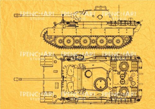 WW2 Panther german medium Tank Poster Patent Print war wall art Military drawing