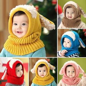 US Baby Rabbit Bunny Ear Hat Toddler Kid Winter Warm Crochet Knitted Earflap Cap
