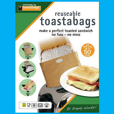 2x 50 Volte Riutilizzabile Toastabags Nessun Disordine Tostapane Tostie Sandwich Sacchetti- Sapore Fragrante (In)