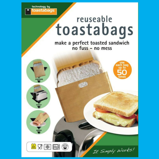2x 50 Times Reusable Toastabags No Mess Toaster Tostie Sandwich Bags