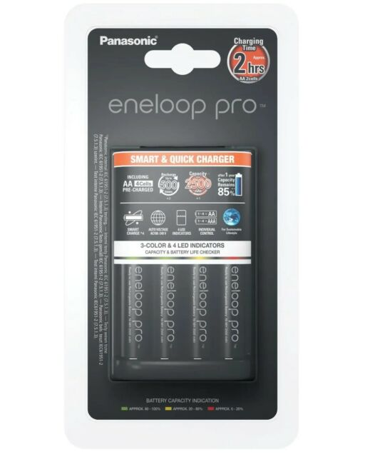 Panasonic Eneloop Pro Battery Charger With 4 x AA Ni-MH Rechargeable Batteries