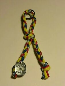 Support-our-Troops-Paracord-Ribbon-shaped-Keychain-Believe-in-Yourself-new