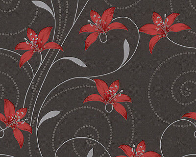 GREY BLACK RED LILLY TRAIL FLORAL FLOWER FEATURE WALLPAPER A.S.CREATION 95700-2
