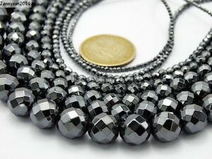 Black-Hematite-Gemstone-Faceted-Round-Beads-15-5-039-039-2mm-3mm-4mm-6mm-8mm-10mm-12mm