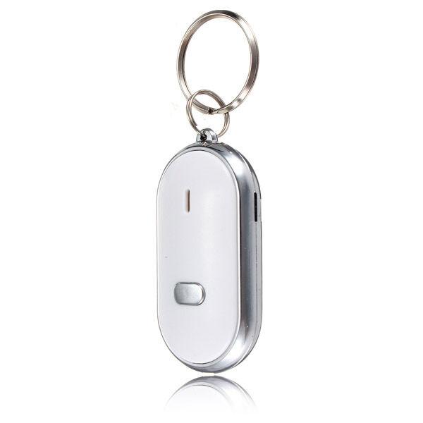 LED Key Finder Locator Sound Control Whistle w / Schlüsselanhänger Weiß Taschen