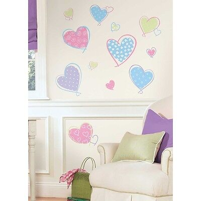 HEARTS WALL DECALS 16 NEW Pink Purple Blue Heart Stickers Girls Bedroom  Decor 34878615875 | eBay