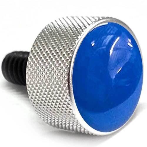 "Silver Billet Aluminum /""Blue Top/"" Knurled Custom Seat Bolt for 1996-2015 Harley"