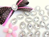 10 Big 1 Crystal Rhinestone Craft Jewel/bead/bow/silver Flatback/decor E73-oval