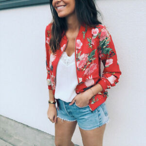 Womens-Ladies-Bomber-Jacket-Coat-Clothes-Floral-Outwear-Zip-Up-Autumn-Tops