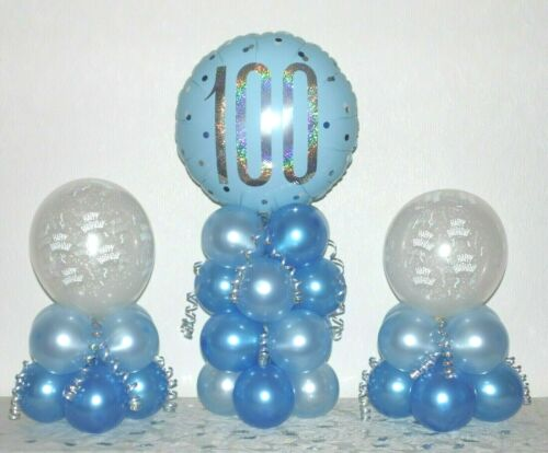 No Helium Needed TABLE DECORATION 100th BIRTHDAY 3 PACK  FOIL BALLOON DISPLAY