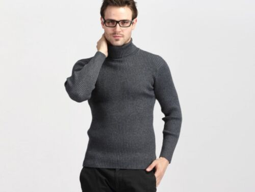 New Cashmere Blend Knitted Sweater  Turtleneck Slim Fit Pullover Tops Casual