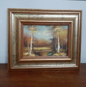 """Fall Landscape Oil Painting signed LEWIS Birch Trees Autumn Frame 11.5"""" x 9.5"""""""