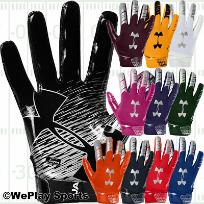 NEW Under Armour UA F6 Blue//White Football Sports Gloves w//Gluegrip-Men/'s XL