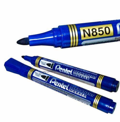 Blue or Green Ink. 4x Pentel N850 Permanent Marker Pen Bullet Tip Black