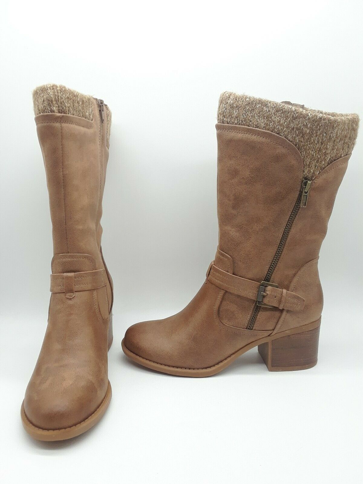 Baretraps Weslin Women shoes Block-Heel Motorcycle Boots Taupe Sz 8 M