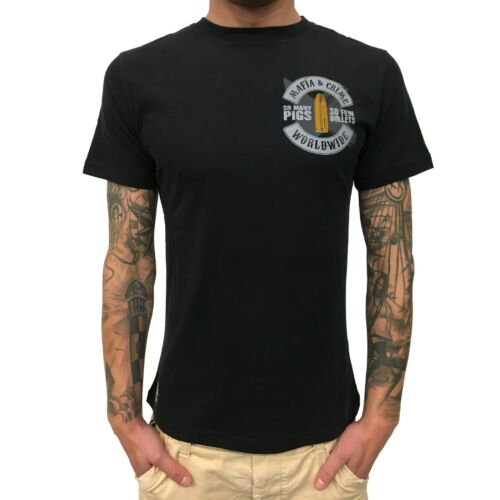 "Mafia /& Crime-T-Shirt Hommes MC 552217 /""aussi many Pigs/"" black noir"