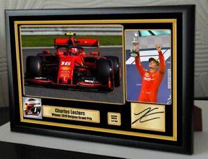 CHARLES-LECLERC-SPA-BELGIAN-GP-2019-FERRARI-F1-2019-A4-Framed-Canvas-Signed